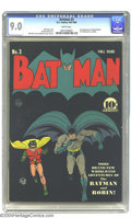 Golden Age (1938-1955):Superhero, Batman #3 (DC, 1940) CGC VF/NM 9.0 White pages. Black covers are always a wonder to behold when in high grade...ah, here com...