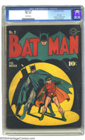 Golden Age (1938-1955):Superhero, Batman #9 (DC, 1942) CGC VG+ 4.5 Off-white pages. Great spotlight cover, by Jack Burnley. This issue has the first Batman Ch...