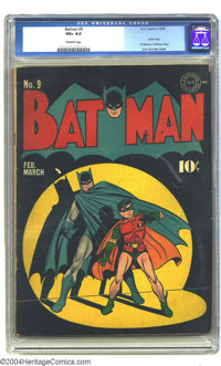 Batman #9 (DC, 1942) CGC VG+ 4.5 Off-white pages. Great spotlight cover, by Jack Burnley. This issue has the first Batma...