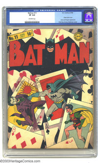 Batman #11 (DC, 1942) CGC VF 8.0 Off-white pages. You'll draw the winning hand if you are the lucky bidder to win this p...