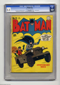 Batman #12 (DC, 1942) CGC FN- 5.5 Off-white to white pages. Batman and Robin ride in on a 1942 version of a Hummer on th...