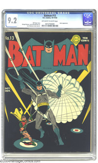Batman #13 (DC, 1942) CGC NM- 9.2 Off-white to white pages. Jerry Robinson offers one of his typically understated maste...