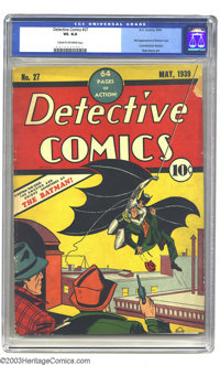 Detective Comics #27 (DC, 1939) CGC VG 4.0 Cream to off-white pages. This is number two on Overstreet's Top 100 Golden A...