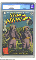 "Golden Age (1938-1955):Science Fiction, Strange Adventures #1 (DC, 1950) CGC VF+ 8.5 Off-white pages. Thiskey first issue contains an adaptation of ""Destination Mo..."