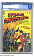 Golden Age (1938-1955):Science Fiction, Strange Adventures #13 (DC, 1951) CGC VF/NM 9.0 Off-white to whitepages. This fantastic cover shows Captain Comet protectin...
