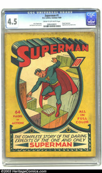 Superman #1 (DC, 1939) CGC VG+ 4.5 Cream to off-white pages. Superman's original title vehicle, Action Comics, couldn't...