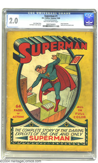 Superman #1 (DC, 1939) CGC GD 2.0 Tan to off-white pages. A truly historical book, Superman #1 arrived scarcely a year a...