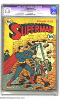 Golden Age (1938-1955):Superhero, Superman #5 (DC, 1940) CGC Apparent FN- 5.5 Slight (A) Off-white pages. Superman was still getting his kicks showing off on ...