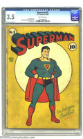 Superman #6 (DC, 1940) CGC VG- 3.5 Off-white pages. The simple but striking cover is by Fred Ray. Inside, you will find...