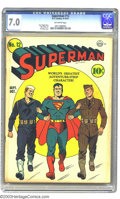 Golden Age (1938-1955):Superhero, Superman #12 (DC, 1941) CGC FN/VF 7.0 Off-white pages. This issue is highlighted by a wonderfully patriotic Fred Ray cover. ...