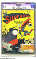 Golden Age (1938-1955):Superhero, Superman #13 (DC, 1941) CGC Apparent VG/FN 5.0 Moderate (P) Off-white pages. Superman can take out a German gunboat with a s...