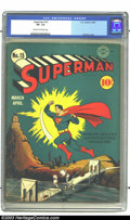 Golden Age (1938-1955):Superhero, Superman #15 (DC, 1942) CGC VF- 7.5 Cream to off-white pages. Great cover art by Fred Ray, with Superman in a classic pose a...