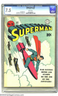 "Golden Age (1938-1955):Superhero, Superman #18 (DC, 1942) CGC VF- 7.5 White pages. Fred Ray created a terrific patriotic cover for this issue, proclaiming ""Wa..."