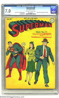 Golden Age (1938-1955):Superhero, Superman #30 (DC, 1944) CGC FN/VF 7.0 Off-white to white pages. A funny Jack Burnley cover with Lois Lane in the unlikely po...