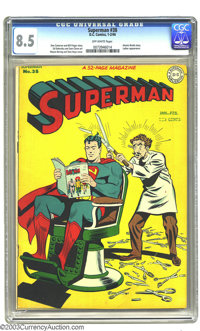 Superman #38 (DC, 1946) CGC VF+ 8.5 Off-white pages. Wayne Boring's whimsical cover spotlights an issue that boasts an a...