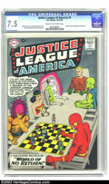 Silver Age (1956-1969):Superhero, Justice League of America #1 (DC, 1960) CGC VF- 7.5 Cream tooff-white pages. DC revived the all-star team concept with the ...