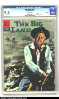 """Silver Age (1956-1969):Western, Four Color #812 The Big Land File Copy (Dell, 1957) CGC NM 9.4Off-white pages. At 5' 5"""", actor Alan Ladd may not have been ..."""