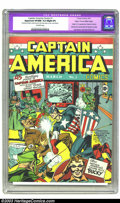 Golden Age (1938-1955):Superhero, Captain America Comics #1 Mile High pedigree (Timely, 1941) CGCApparent VF/NM 9.0 Slight (P) Off-white pages. The United St...