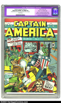 Captain America Comics #1 Mile High pedigree (Timely, 1941) CGC Apparent VF/NM 9.0 Slight (P) Off-white pages. The Unite...