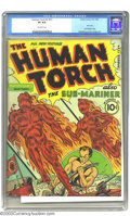Golden Age (1938-1955):Superhero, The Human Torch 2 (#1) (Timely, 1940) CGC VF 8.0 Off-white pages. This series began as Red Raven, but after only one iss...