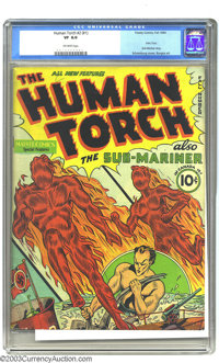 The Human Torch 2 (#1) (Timely, 1940) CGC VF 8.0 Off-white pages. This series began as Red Raven, but after only one iss...