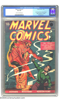 Marvel Comics #1 (Timely, 1939) CGC VG 4.0 Cream to off-white pages. Marvel/Timely followed DC into the Golden Age of Co...