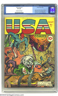 Golden Age (1938-1955):Superhero, USA Comics #1 (Timely, 1941) CGC VF 8.0 Off-white to white pages. Joe Simon and Jack Kirby proved they could hang with Alex ...