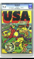 Golden Age (1938-1955):Superhero, USA Comics #3 (Timely, 1941) CGC NM 9.4 Off-white pages. The Photo-Journal Guide to Comic Books gives Jack Kirby credit ...
