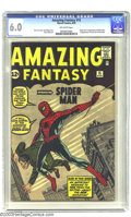 Silver Age (1956-1969):Superhero, Amazing Fantasy #15 (Marvel, 1962) CGC FN 6.0 Off-white pages. Fantastic Four #1 may have ushered in the Marvel Age, but...