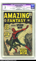 Silver Age (1956-1969):Superhero, Amazing Fantasy #15 (Marvel, 1962) CGC Apparent PR 0.5 Cream to off-white pages. Stan Lee and Steve Ditko bring everyone's f...