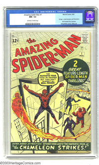 "Amazing Spider-Man #1 (Marvel, 1963) CGC NM- 9.2 Off-white to white pages. As striking and effective as Jack ""King&..."