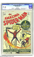 Silver Age (1956-1969):Superhero, Amazing Spider-Man #1 (Marvel, 1963) CGC FN/VF 7.0 White pages. The first issue of the most popular superhero in comics over...