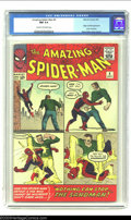 Silver Age (1956-1969):Superhero, The Amazing Spider-Man #4 (Marvel, 1963) CGC NM 9.4 Cream tooff-white pages. This issue has the only multi-paneled cover in...