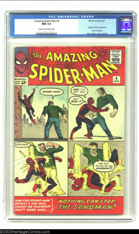 The Amazing Spider-Man #4 (Marvel, 1963) CGC NM 9.4 Cream to off-white pages. This issue has the only multi-paneled cove...