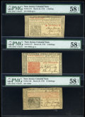 Colonial Notes:New Jersey, New Jersey Trio of Denominations March 25, 1776 1s-15s PMG ChoiceAbout Unc 58 EPQ.... (Total: 3 notes)