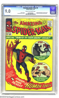 """Amazing Spider-Man #8 (Marvel, 1964) CGC VF/NM 9.0 Cream to off-white pages. This action-packed """"Tribute to Teenage..."""
