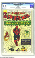 Silver Age (1956-1969):Superhero, Amazing Spider-Man #19 (Marvel, 1964) CGC NM- 9.2 White pages. The Sandman, that shape-shifting super-villain, teams up with...