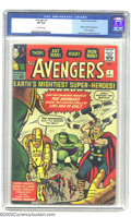 Silver Age (1956-1969):Superhero, The Avengers #1 (Marvel, 1963) CGC VF 8.0 Off-white pages. Earth's mightiest heroes assemble for the first time in this key ...