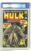 "Silver Age (1956-1969):Superhero, The Incredible Hulk #1 (Marvel, 1962) CGC VF+ 8.5 White pages. ""Fantasy As You Like It!"" was a bold enticement in 1962, espe..."