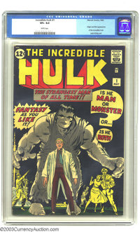 """The Incredible Hulk #1 (Marvel, 1962) CGC VF+ 8.5 White pages. """"Fantasy As You Like It!"""" was a bold enticement..."""