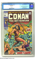 Bronze Age (1970-1979):Superhero, Conan The Barbarian #1 (Marvel, 1970) CGC NM 9.4 White pages.Little did comic fans know at the time, but this comic book ad...
