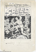 Original Comic Art:Covers, John Henri - Original Cover Art for Speed Comics #30 (Harvey,1944). Captain Freedom battles scaly monsters from the Death C...