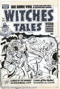 Original Comic Art:Covers, Al Avison - Original Cover Art for Witches Tales #7 (Harvey, 1952).An archaeologist and his ravishing assistant open a big ...
