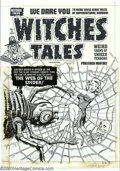 Original Comic Art:Covers, Al Avison - Original Cover Art for Witches Tales #12 (Harvey, 1952). Her body arched in horror as she felt the slimy strands...