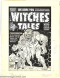 Original Comic Art:Covers, Al Avison - Original Cover Art for Witches Tales #14 (Harvey,1950s). When will these scientists learn? Those Jekyll-and-Hyd...