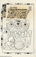 Original Comic Art:Covers, Ray Dirgo - Original Cover Art for Top Cat #15 (Charlton, 1973).Top Cat and his crew enjoy a little fresh fruit on this cle...