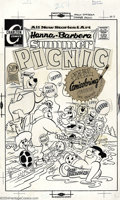 Original Comic Art:Covers, Ray Dirgo - Original Cover Art for Summer Picnic #3 (Charlton,1970s). The Hanna-Barbera cartoon gang is out in full force a...