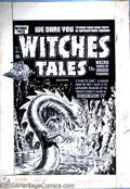 Original Comic Art:Covers, Lee Elias - Original Cover Art for Witches Tales #17 (Harvey,1952). This cover features a great fanged beast, moving in clo...