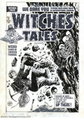 Original Comic Art:Covers, Lee Elias - Original Cover Art for Witches Tales #26 (Harvey,1954). A cave full of skeletons doesn't bode well for this har...