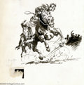 Original Comic Art:Sketches, Frank Frazetta - Original Illustration, Riders on Horseback (undated). Spectacular brush-and-ink illustration of a horse rac...